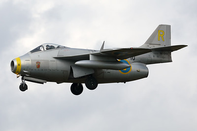 "The Swedish Air Force Historic Flight's Saab J29F ""Tunnan"" (SE-DXB; 10/R; cn29-670) is seen here on final at Kleine Brogel, just visiting for a short fuel stop."