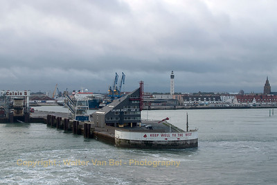 Leaving Calais habour behind us, on our way to Eastbourne (via Dover).