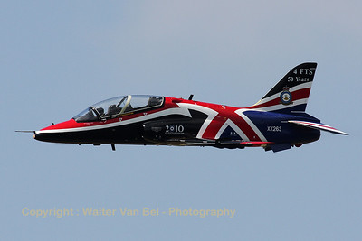 The RAF display Hawk with special c/s to celebrate 50 years of 4FTS at RAF Valley. It is seen here during its display at the Beauvechain Air Show 2010.
