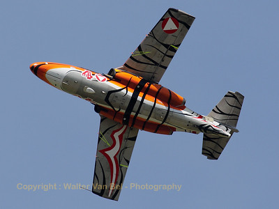 "The new ""Tiger"" c/s applied on this Austrian Air Force Saab 105OE looks beautiful! It is seen here during a rehearsal for the Beauvechain Air Show 2010."