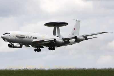 A Boeing E-3A Sentry (LX-N90453, cn22848/964), on final for RWY26R, during the arrival day for the Florennes Air Show 2012.