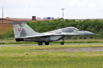 A Slovak Air Force MiG-29AS (reg:3911, cn2960532039/4204) on the taxiway, prior to its rehearsal for the Florennes Air Show 2012.