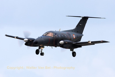 A French Air Force EMB-121 Xingu (111-YQ, cn121111), on final for RWY26R, during the arrival day for the Florennes Air Show 2012.