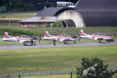 Three aircraft (067, 069 & 066) of the 'Krila Oluje' (Wings of Storm), the Croatian Air Force aerobatic display team, parked on a taxiway at Florennes AFB, after their arrival for the 2012 Airshow, and being prepared for another rehearsal. The team 'Krila Oluje' consists of the pilots from the 93rd Military airbase Zemunik and they fly the Pilatus PC-9M.