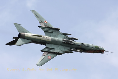 A Polish Air Force Su-22M4 Fitter (reg:8919 cn28919), showing its belly while performing a roll during a rehearsal for the Florennes Air Show 2012.