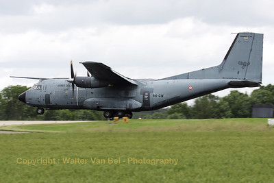 A French Air Force Transall C-160R (R223; 64-GW; cn226) is about to touch down on Florennes RWY26R, on the arrival day for the 2012 Airshow.