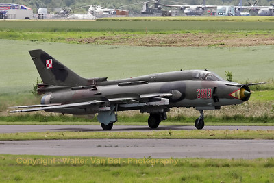 One of a pair of Polish Air Force Su-22M4's (reg:3819 cn37819), on the taxiway, prior to their rehearsal for the Florennes Air Show 2012.