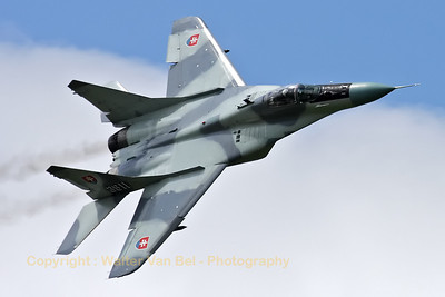 This Slovak Air Force MiG-29AS (reg:3911, cn2960532039/4204) made a nice Photo-pass, during the rehearsal on the arrival day for the Florennes Air Show 2012.