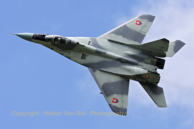 This Slovak Air Force MiG-29AS (reg:3911, cn2960532039/4204) shows its top-side to the photographers, during the rehearsal on the arrival day for the Florennes Air Show 2012.