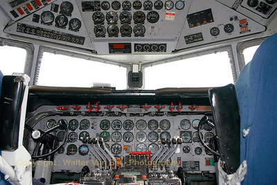 "View on the instrument panels of this ""classic"", a KLM-Douglas DC-6 (G-APSA; cn45497/995) during the ""Giants of History Fly-in"" at Lelystad."