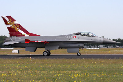 "Arrival of the Danish F-16A with special painted tail for the ""60th anniversary of the Denmark Air Force"" (Luchtmachtdagen 2010)."