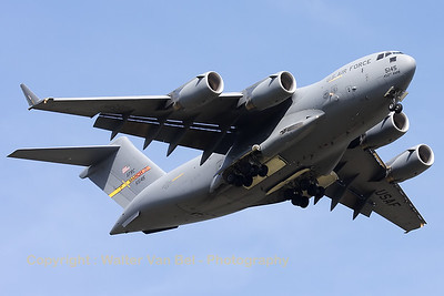 "Impressive show-performance by the ""Spirit of Ronald Reagan"", a USAF C-17A (05-5145; cnP-145), during a rehearsal on the arrival day for the ""Luchtmachtdagen 2010"" at Gilze-Rijen."