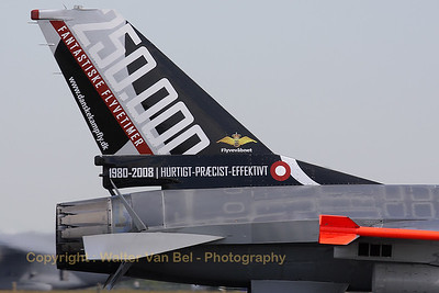 Close-up of the Danish F-16BM with special painted tail (Luchtmachtdagen 2010 at Gilze-Rijen).