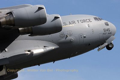 "Spirited take of by the ""Spirit of Ronald Reagan"", a USAF C-17A (05-5145; cnP-145), during a rehersal on the arrival day for the ""Luchtmachtdagen 2010"" at Gilze-Rijen."