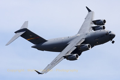 """Impressive show-performance by the """"Spirit of Ronald Reagan"""", a USAF C-17A (05-5145; cnP-145), during a rehearsal on the arrival day for the """"Luchtmachtdagen 2010"""" at Gilze-Rijen."""