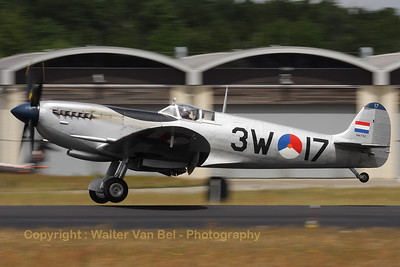 """This Spitfire - operated by Stichting Koninklijke Luchtmacht Historische Vlucht - is about to land after performing at the """"Luchtmachtdagen 2010"""" at Gilze-Rijen."""