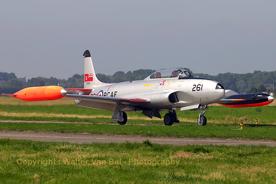 G-TBRD / 261 (cn T33-261) Beautifully restored warbird (RCAF-261) - repainted in its original colors - during the arrival day of the Koksijde Air Show 2005. Sadly, this beautiful T-Bird crashed during take-off from Duxford on September 6th, 2006. Luckily, the crew escaped with minor injuries...