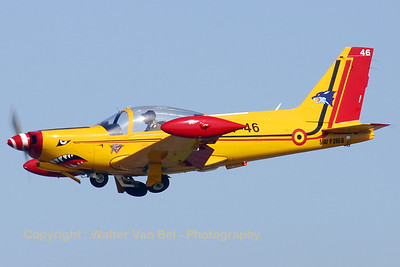 Belgian Marchetti (ST-46 ;cn846) performing a go-around (Rwy 29) on the arrival day of the Koksijde Airshow.