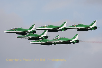 The Saudi Hawks - against an awful backdrop - at the start of their show at koksijde AFB.