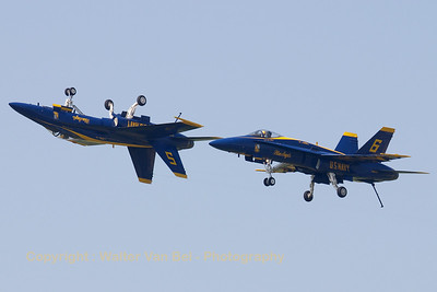 "Blue Angels #5 (162897 / 5 (cn 0453/A371) and #6 at the start of the ""mirror-pass"" in dirty configuration."
