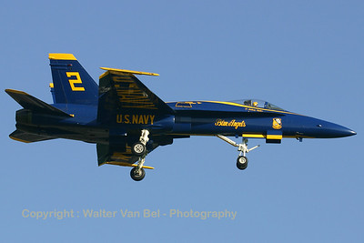 "Number ""2"" of the Blue Angels (161959 ;cn 0171/A133) on final for RWY24 at Leeuwarden. First time in The Netherlands!"
