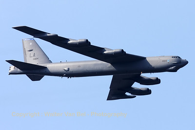 """A B-52H, from Barksdale, flies over Sanicole's airfield """"EBLE"""", during the 2012 Airshow."""