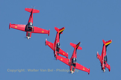 "The Belgian Air Force ""Red Devils"", in action above Leopoldsburg during the 2012 Sanicole-Airshow."