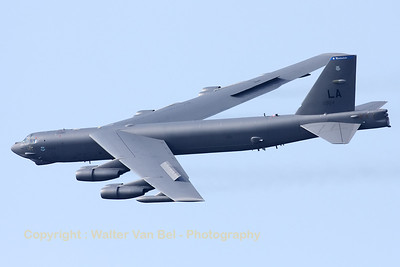 "A B-52H (60-0024; cn464389), from Barksdale, flies over Sanicole's airfield ""EBLE"", during the 2012 Airshow. Note the deflected spoilers, used for roll-control."