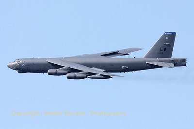 "A B-52H (60-0024; cn464389), from Barksdale, flies over Sanicole's airfield ""EBLE"", during the 2012 Airshow."