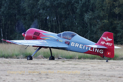 """The Breitling """"SU-26M"""", taxiing out prior to its display at Sanicole Sunset-Airshow."""
