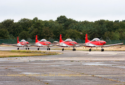 "Arrival of the Swiss Air Force ""PC-7 Team"" at KB. Closest to the camera is A-932 (cn340), followed by A-914, A-917 and A-919."
