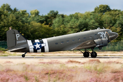 "This C-47A Skytrain (DC-3) ""Drag Em Oot"" is seen here starting its take-off at KB, for a local flight during the spottersday, prior to the Sanicole Airshow 2013."