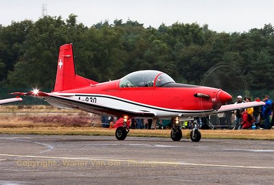 "A Pilatus NCPC-7 (A-930, cn338) of the Swiss Air Force ""PC-7 Team"" is seen arriving at KB, during the spotterday prior to the Sanicole Airshow 2013."