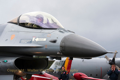 Close-up of a Belgian Air Force F-16AM (FA-114, cn6H-114), taxiing to the active runway - during the spottersday at KB - prior to the Sanicole Airshow 2013.