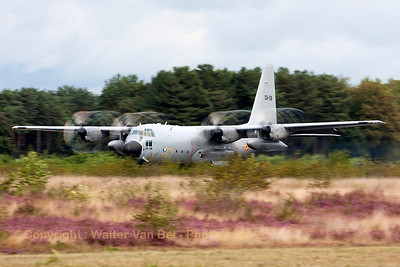This Belgian Air Force C-130H (CH-08, cn382-4478) is here seen performing a touch-and-go, during the spottersday prior to the Sanicole Airshow 2013.