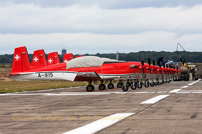 "Nice line-up of the Swiss Air Force ""PC-7 Team"" on the parallel runway at KB. Closest to the camera is  A-915 (cn323)."