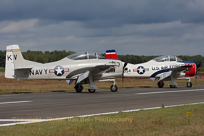 A pair of T-28B Trojan's at KB during the spottersday, prior to the Sanicole Airshow 2013. Nearest to the camera is T-28B Trojan (NX377WW / 137777/KV-863; cn 200-140), the other beauty is T-28B Trojan (N1328B / 55-138354/TL-354; cn200-425).