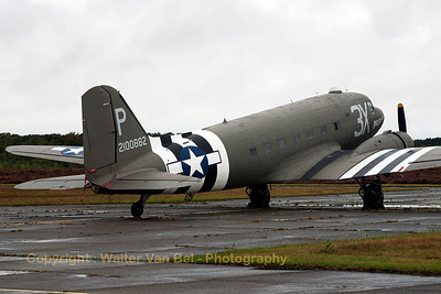 "The C-47A Skytrain (DC-3) ""Drag 'em oot"" is seen here parked at KB, during the spottersday, prior to the Sanicole Airshow 2013."