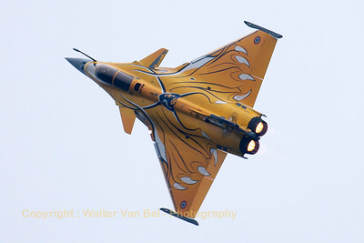 French Air Force Rafale C (113-HJ, cn107) in tiger c/s, seen here during its display at the Sanicole Sunset Airshow 2013.