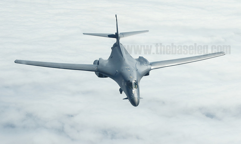 U.S. Air Force B-1B Lancer bomber seen from a KC-10A tanker