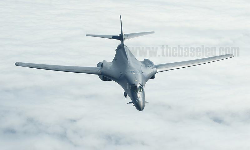 U.S. Air Force B-1B Lancer bomber seen from a KC-10A tanker