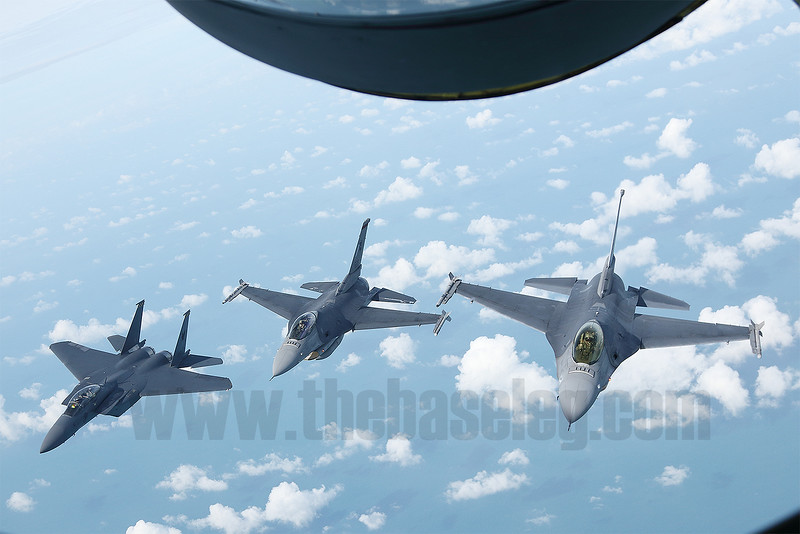 Republic of Singapore Air Force Lockheed-Martin F-16C  Fighting Falcons and Boeing F-15SG Eagle seen from the boom position of a KC-135R Stratotanker