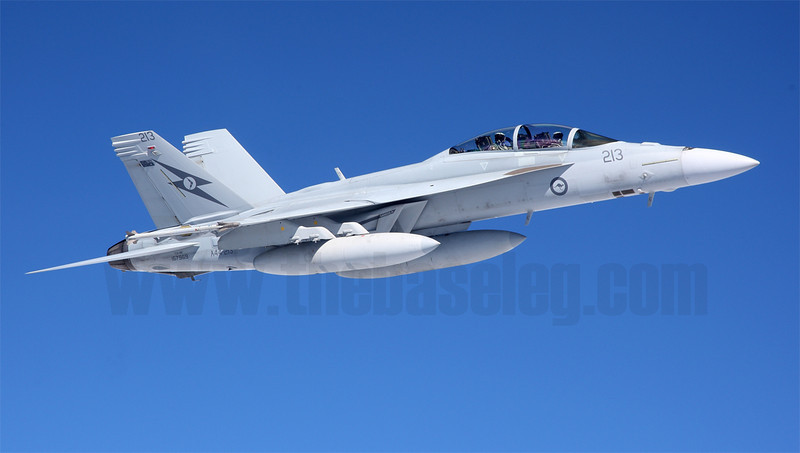 Royal Australian Air Force Boeing F/A-18F Super Hornet A44-213 off the wing of an Airbus A330 tanker during Talisman Saber 2013