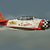 """AT-6 Aeroshell Demonstration Team at EAA AirVenture 2008 in Oshkosh, Wisconsin. <a href=""""http://jonberryphoto.smugmug.com/gallery/5581889_iYXVt#342321869_sEWZi"""">http://jonberryphoto.smugmug.com/gallery/5581889_iYXVt#342321869_sEWZi</a><br /> <br /> Variously called the Texan (USAAF), Harvard (RAF), Yale, I-Bird, Mosquito, Wirraway (Australia), T-6 and SNJ (USN), the AT-6 appeared in 1940, a derivation of North American's NA-16 design drawn up for the 1937 Air Corp competition (which was won by the NA-16 incidentally). In all, over 17,000 aircraft were produced, not taking into account the numbers rebuilt from existing airframes, or others that used the AT-6 technology, such as the P-64 or Boomerang.<br /> <br /> The AT-6 Texan became the classroom for the majority of the Allied pilots who flew in World War II, and trained several hundred thousand pilots in 34 different countries. It's basic design was as a trainer, with the characteristics of a high speed fighter, and was well suited to the intermediary task of training pilots before letting them loose in an actual fighter aircraft. Although not as fast as a fighter, it was easy to maintain and repair, had more maneuverability and was easier to handle. A pilot's airplane, it could roll, Immelmann, loop, spin, snap, and vertical roll. It was used to train pilots in all aspects of tactical operations, such as dog-fighting, ground strafing, carrier landings, and bombardment. It also included the capacity for fixed and flexible guns, cameras, and just about any other device that the military required.<br /> <br /> The Texan is best known as a trainer, and is affectionately know as 'PILOT MAKER'. In the words of one airman ''The best machine ever built to turn gasoline into noise'.<br /> <br /> Quoted from <a href=""""http://www.aviationshoppe.com/AT-6-Texan.html"""">http://www.aviationshoppe.com/AT-6-Texan.html</a>"""