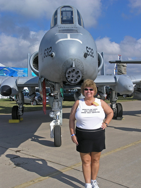 Nancy and an A-10 Thunderbolt at Oshkosh - 29 July 2005