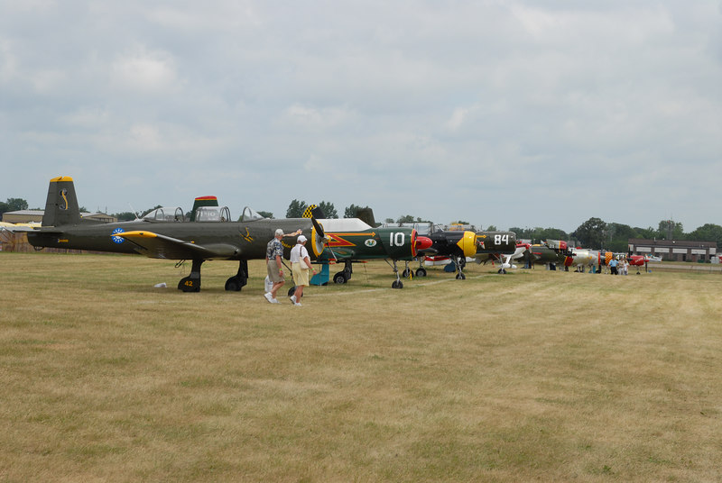 Walking onto the flight line, rows upon rows of beautifully restored warbirds.