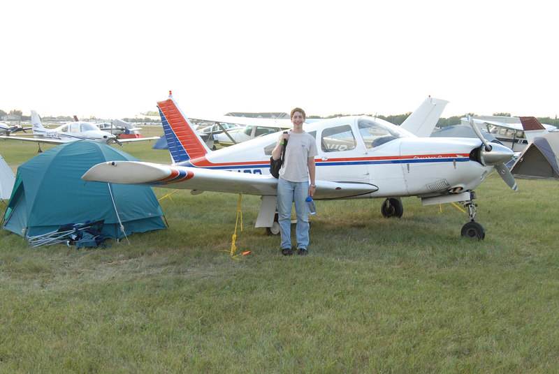 Kevin and our plane, N7430J, at our campsite in the North 40.