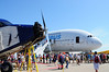 Ford Trimotor and Airbus A380 keep each other company in AeroShell Square