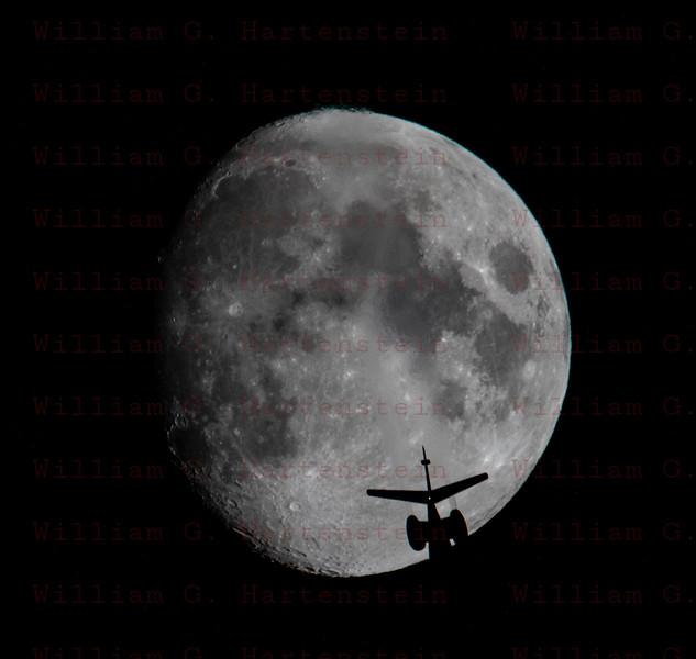 A Gulfstream G100 transit of the Moon over Santa Clarita, CA. 08-11-2019