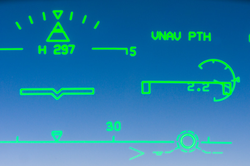 Heads-Up display or HUD in Boeing 737 NG flight deck jet aircraft.  Part of the Boeing 737 NG or Next Generation 'Glass Cockpit' instrumentation.